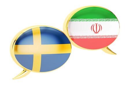 Speech bubbles, Iranian-Swedish translation concept. 3D rendering