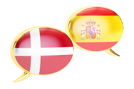 danish flag: Speech bubbles, Spanish-Danish translation concept. 3D rendering