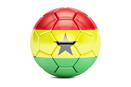 football ball with flag of Ghana, 3D rendering
