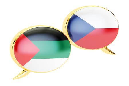 Speech bubbles, Czech-Arabian translation concept. 3D rendering Stock Photo