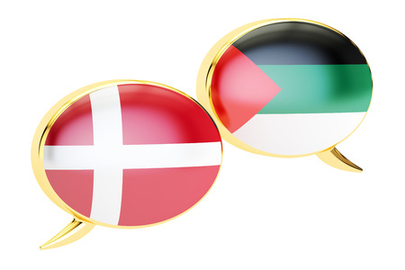 Speech bubbles, Danish-Arabian translation concept. 3D rendering Stock Photo