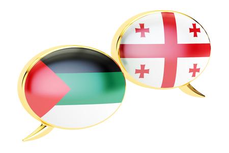 Speech bubbles, Georgian-Arabian translation concept. 3D rendering