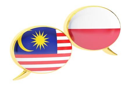Speech bubbles, Malaysian-Polish translation concept. 3D rendering