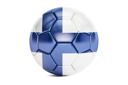europe closeup: football ball with flag of Finland, 3D rendering