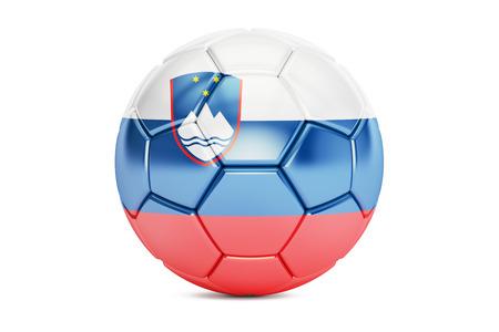 soccer team: football ball with flag of Slovenia, 3D rendering