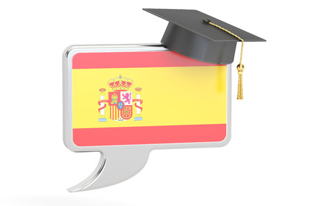 spanish flag: Speech bubble with Spanish flag, learning concept. 3D rendering Stock Photo
