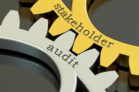 financial advisors: Stakeholder Audit concept on the gearwheels, 3D rendering