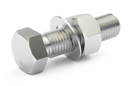 Bolt with nut and washer, 3D rendering isolated on white background