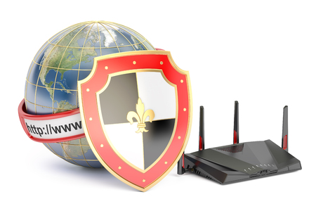 protect concept: earth with shield and router, internet protect concept. 3D rendering