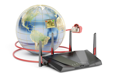 dissemination: global networking connection concept, earth with router. 3D rendering isolated on white background