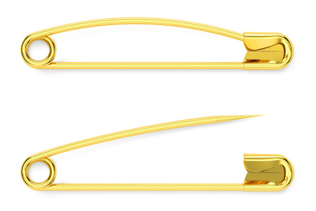 golden safety pins, 3D rendering isolated on white background