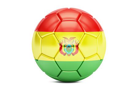 pelota de fútbol con la bandera de Bolivia, 3D