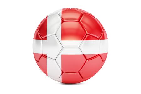 danish flag: football ball with flag of Denmark, 3D rendering
