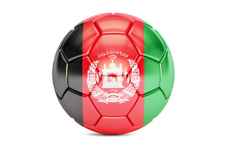 football ball with flag of Afghanistan, 3D rendering