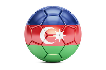 football ball with flag of Azerbaijan, 3D rendering Stock Photo