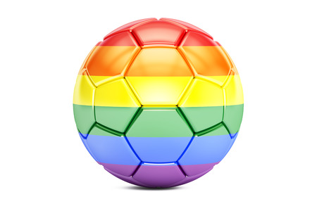 3d rainbow: football ball with rainbow flag, 3D rendering