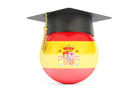 alumnus: education in Spain concept, 3D rendering isolated on white background