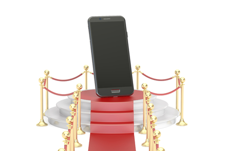 Podium with smartphone, 3D rendering isolated on white background Stock Photo