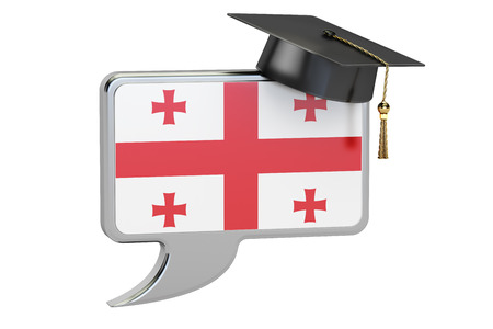 georgian: Speech bubble with Georgian flag, learning concept. 3D rendering