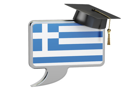 greek flag: Speech bubble with Greek flag, learning concept. 3D rendering