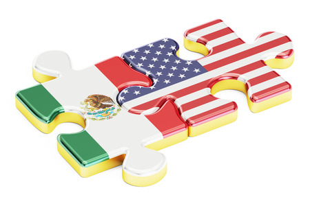 relation: USA and Mexican puzzles from flags, relation concept. 3D rendering isolated on white background