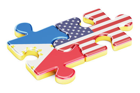 filipino: USA and Philippines puzzles from flags, relation concept. 3D rendering isolated on white background
