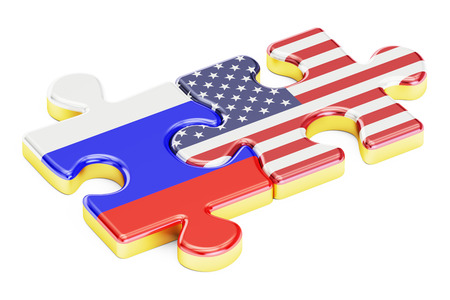 relation: USA and Russia puzzles from flags, relation concept. 3D rendering isolated on white background