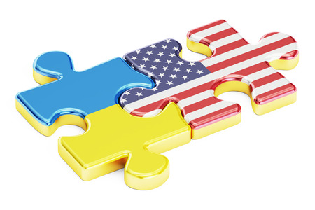 USA and Ukraine puzzles from flags, relation concept. 3D rendering isolated on white background