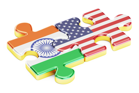 relation: USA and India puzzles from flags, relation concept. 3D rendering isolated on white background Stock Photo