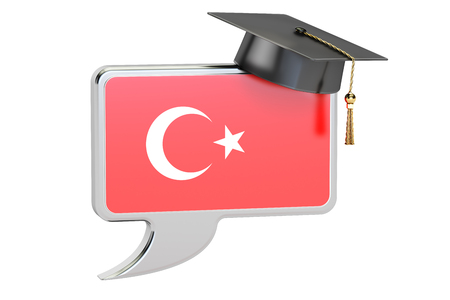 turkish flag: Speech bubble with Turkish flag, learning concept. 3D rendering