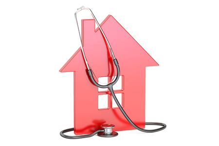 stethoscope: House with stethoscope, 3D rendering isolated on white background
