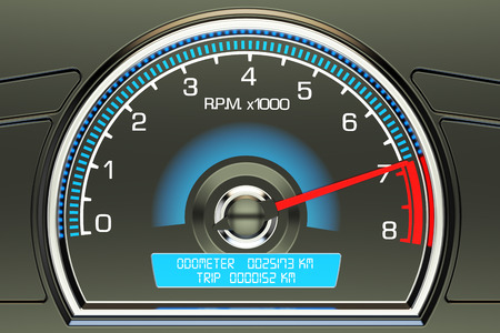 tachometer: tachometer closeup, 3D rendering