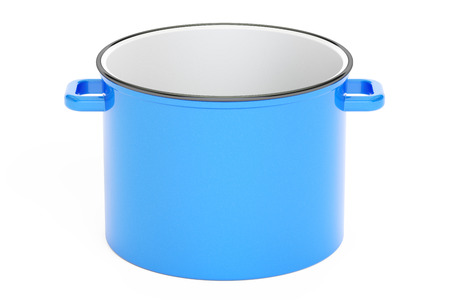 cook out: Blue cooking pot, 3D rendering isolated on white background