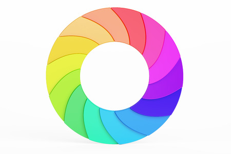 Palette Circle. Colored Business Logotype, 3D rendering isolated on white background