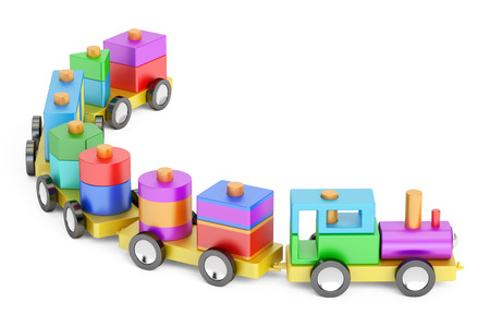 Wooden toy train with colorful blocs, 3D rendering
