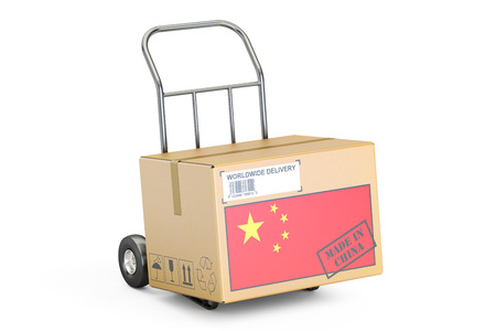 made in china: Made in China concept. Cardboard Box on Hand Truck, 3D rendering isolated on white background
