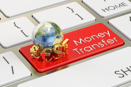 money transfer: Money Transfer concept on red keyboard button, 3D rendering