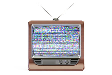 static: Old TV set screen with static noise, bad signal reception. 3D rendering isolated on white background