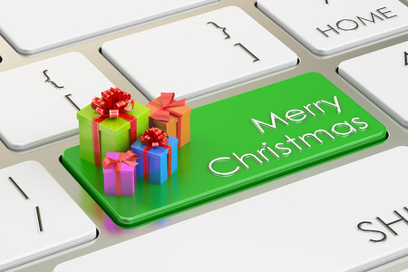 computer keys: Merry Christmas concept on green keyboard button, 3D rendering Stock Photo