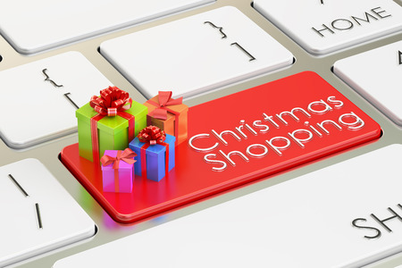 christmas savings: Christmas shopping concept on red keyboard button, 3D rendering