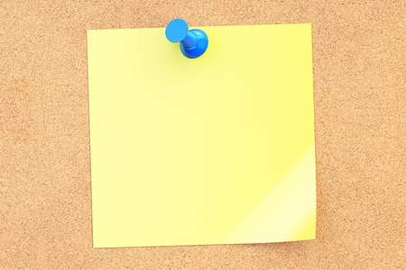 push pin: blue push pin with blank yellow sticky note on corkboard, 3D rendering Stock Photo