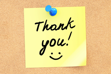 sticky note: Thank You text on a sticky note, 3D rendering