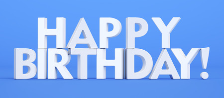 text 3d: Happy Birthday text, 3D rendering isolated on blue background Stock Photo