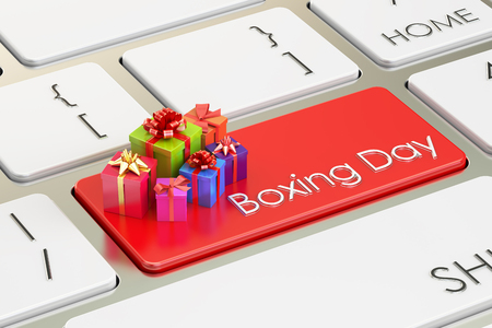boxing day: Boxing Day concept, red key on keyboard. 3D rendering