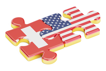 USA and Switzerland puzzles from flags, relation concept. 3D rendering isolated on white background