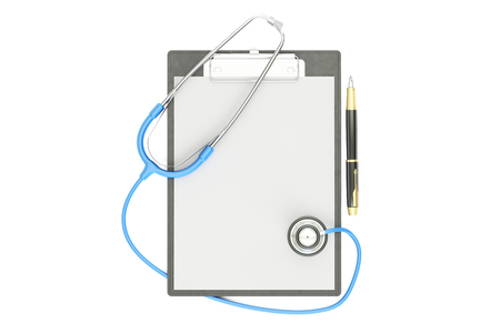 medical clipboard: Blank medical clipboard with stethoscope, 3D rendering isolated on white background Stock Photo