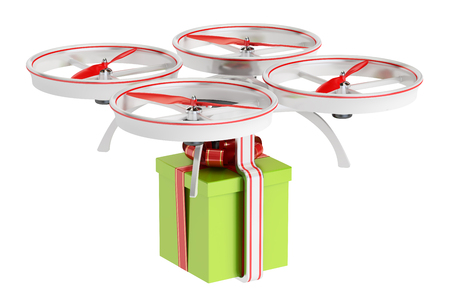 delivery drone with a gift box, 3D rendering isolated on white background