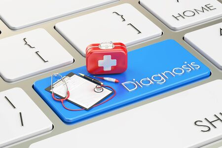first aid kit key: Diagnosis button, blue key on  keyboard 3D rendering
