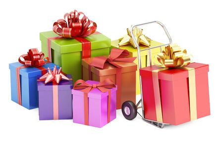 Gift Delivery Concept, 3D rendering isolated on white background
