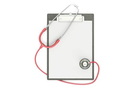 red stethoscope: Blank medical clipboard with red stethoscope, 3D rendering isolated on white background Stock Photo